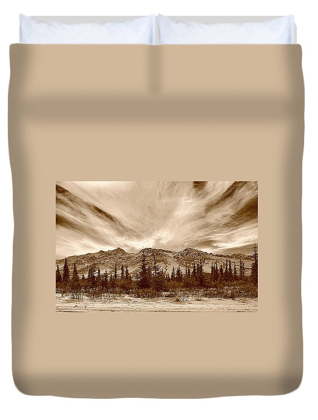 Denali Park Alaska Snow Montain Duvet Cover featuring the photograph Denali Park - Alaska by Galeria Trompiz
