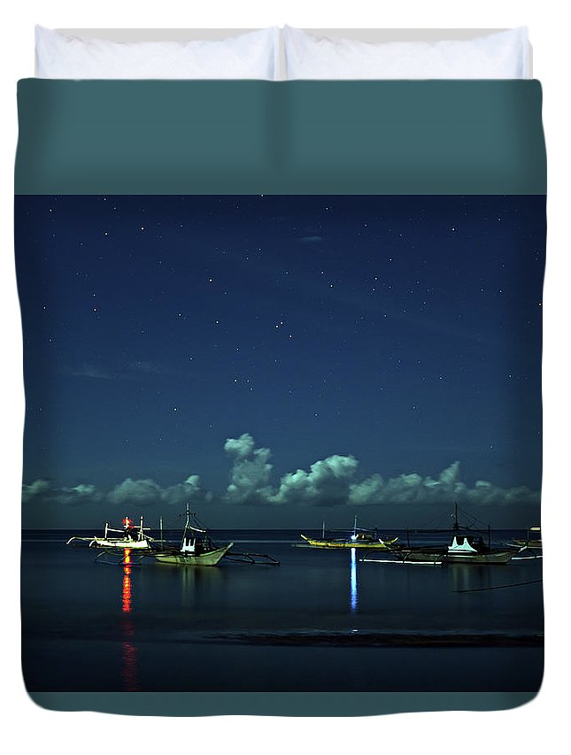 Boat Duvet Cover featuring the photograph Fishing Boats by Lik Batonboot