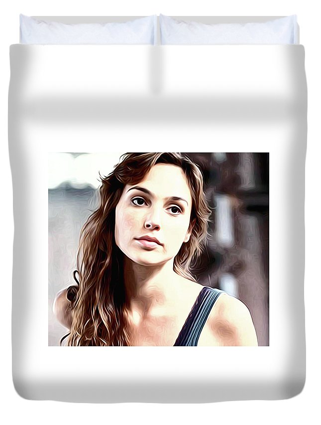 Gal Gadot Duvet Cover featuring the digital art Gal Gadot Art by Elizabeth Simon