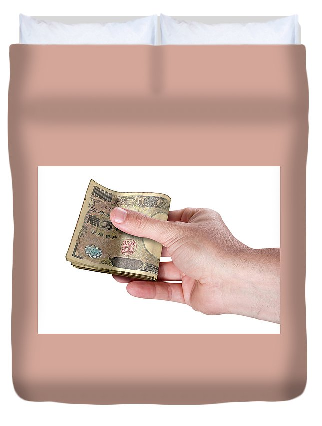 Japan Duvet Cover featuring the digital art Hand Passing Wad Of Cash by Allan Swart