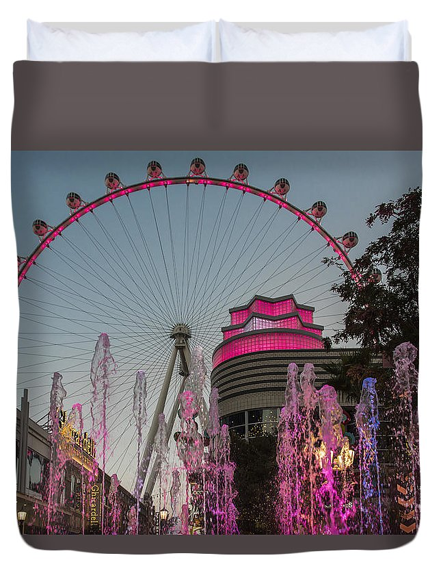 Las Vegas Duvet Cover featuring the photograph High Roller - Las Vegas Nevada by Jon Berghoff
