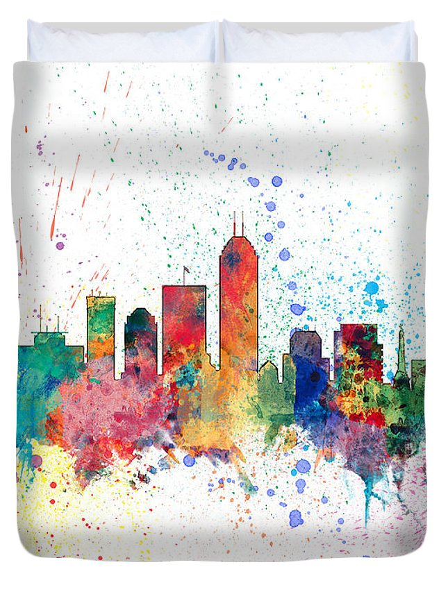 United States Duvet Cover featuring the digital art Indianapolis Indiana Skyline by Michael Tompsett