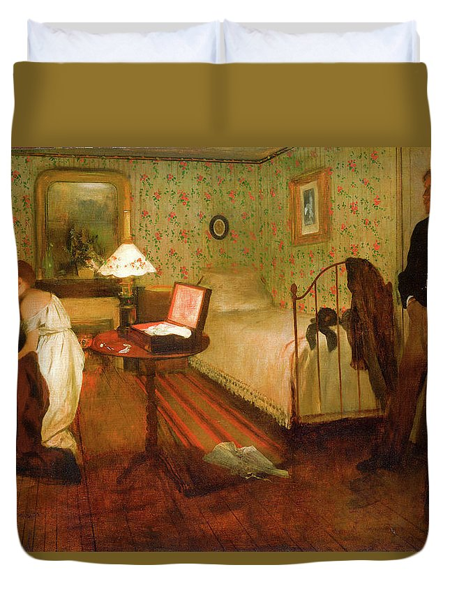 Bedroom Duvet Cover featuring the painting Interior by Edgar Degas