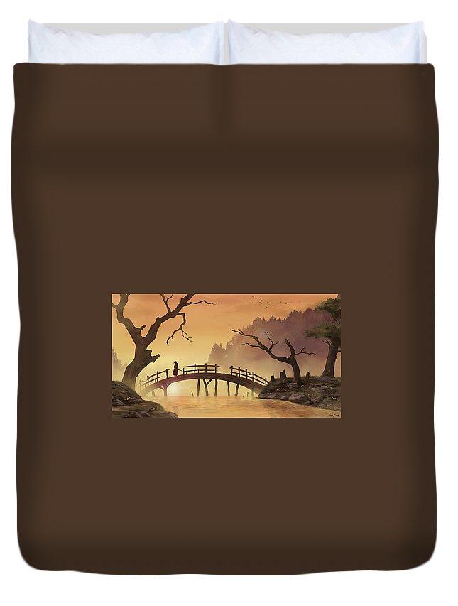 Landscape Duvet Cover featuring the digital art Landscape by Dorothy Binder