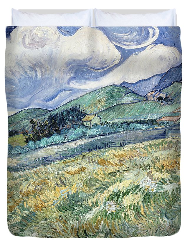 Van Gogh Duvet Cover featuring the photograph Landscape From Saint-remy by Vincent van Gogh