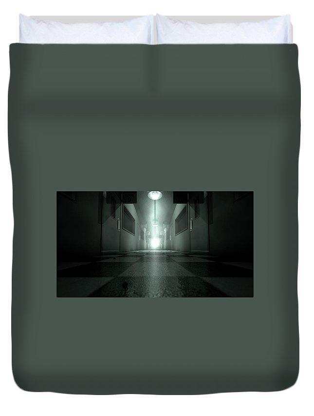 Asylum Duvet Cover featuring the digital art Mental Asylum Haunted by Allan Swart