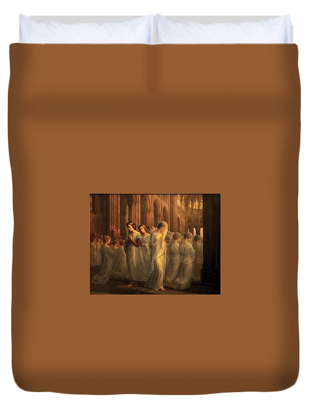 Louis Janmot - Poem Of The Soul 10 - First Communion Duvet Cover featuring the painting Poem Of The Soul by MotionAge Designs