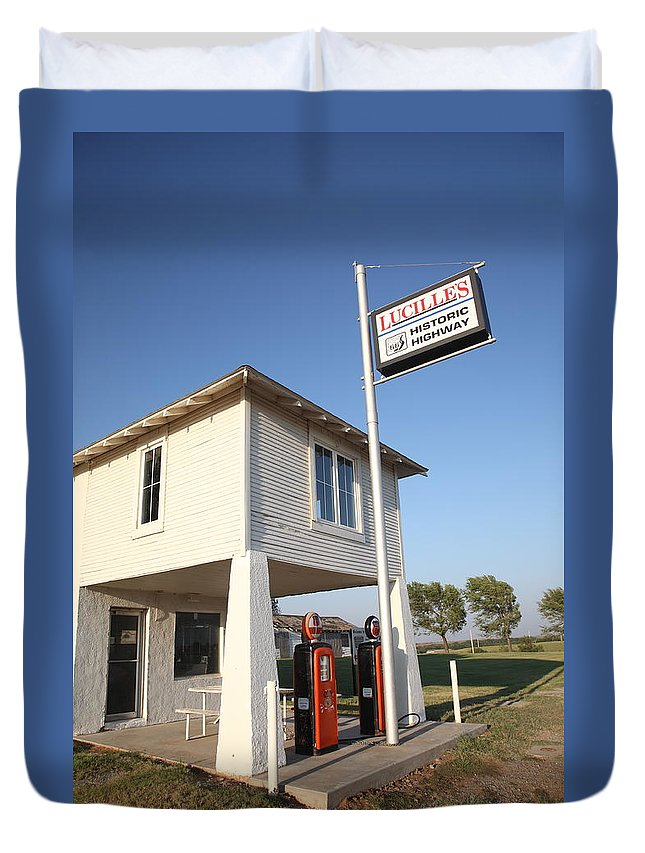 66 Duvet Cover featuring the photograph Route 66 - Lucille's Gas Station by Frank Romeo