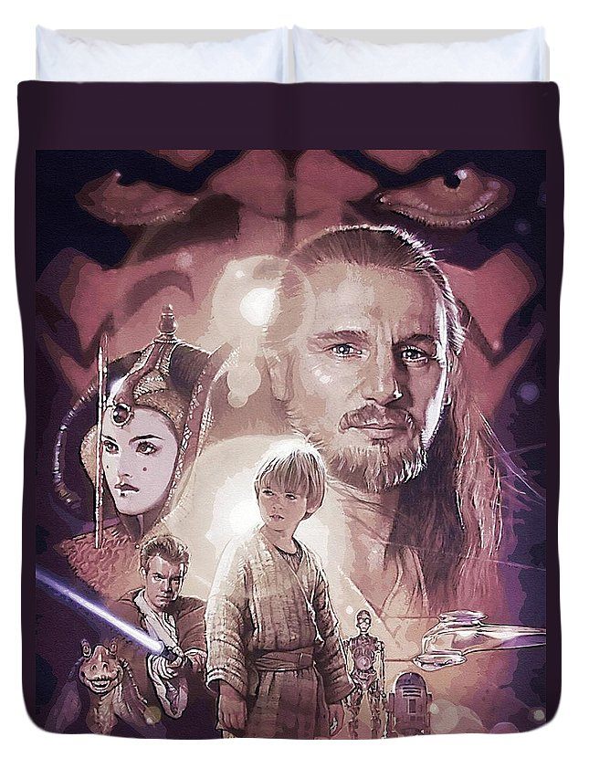 Collection Star Wars Duvet Cover featuring the digital art Star Wars Characters Poster by Larry Jones