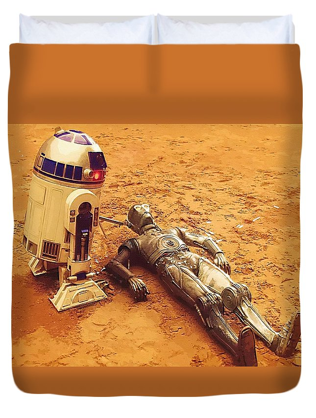 Star Wars Characters Duvet Cover featuring the digital art Star Wars Galactic Heroes Poster by Larry Jones