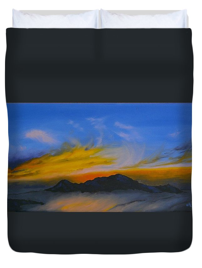 Sunset Duvet Cover featuring the painting Sunset 3 by Maria Woithofer