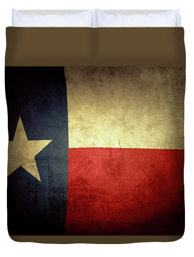 Flag Duvet Cover featuring the photograph Texas flag by Les Cunliffe