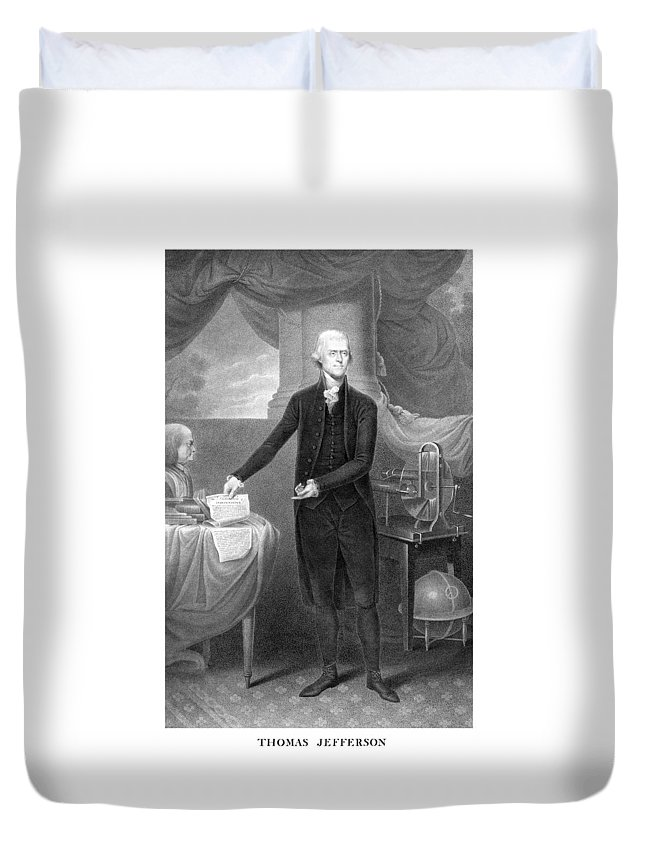 Thomas Jefferson Duvet Cover featuring the mixed media Thomas Jefferson by War Is Hell Store