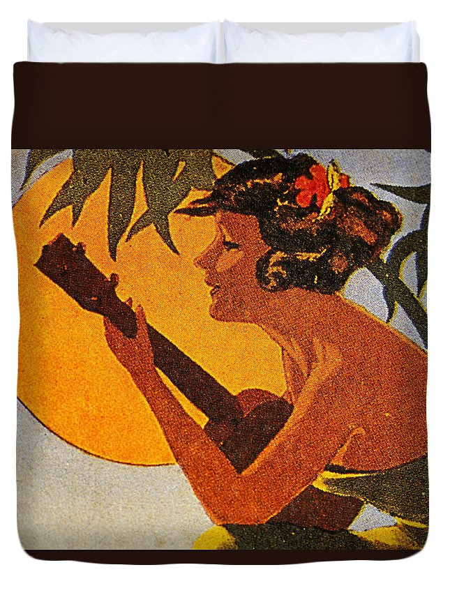 1925 Duvet Cover featuring the painting Vintage Hawaiian Art by Hawaiian Legacy Archive - Printscapes