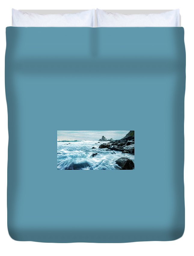 Landscape Duvet Cover featuring the painting Landscape Nature Pictures by World Map