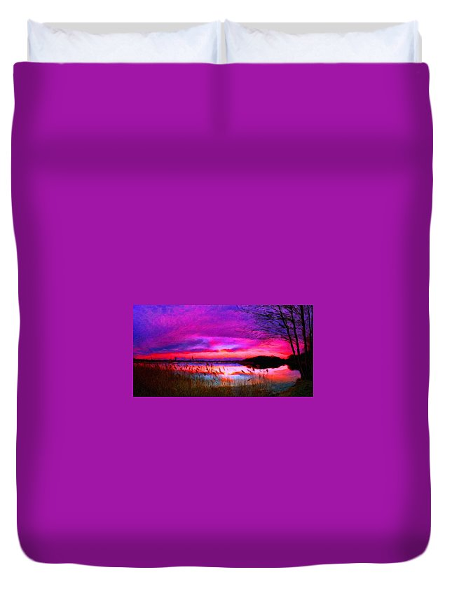 Landscape Duvet Cover featuring the painting Landscape On Nature by World Map