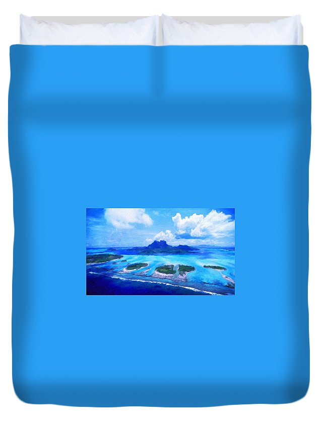 Landscape Duvet Cover featuring the painting Nature Landscape Jobs by World Map