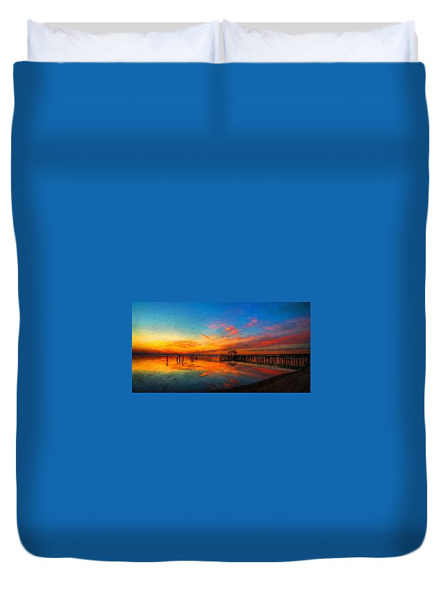 Landscape Duvet Cover featuring the painting Nature Oil Canvas Landscape by World Map