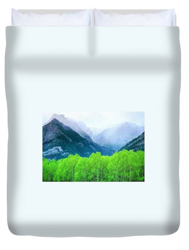 Landscape Duvet Cover featuring the painting Nature Work Landscape by World Map