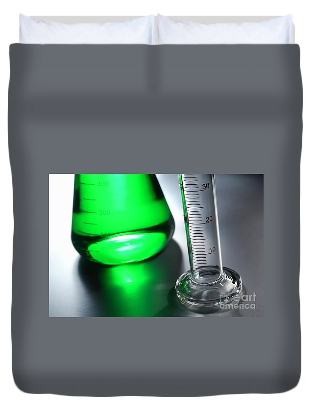 Chemical Duvet Cover featuring the photograph Laboratory Equipment In Science Research Lab by Olivier Le Queinec