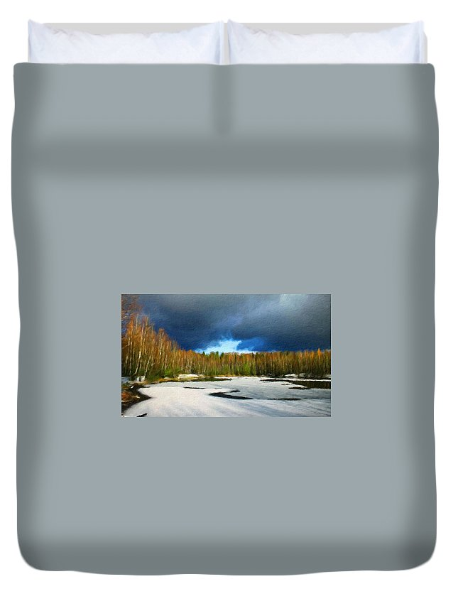 Landscape Duvet Cover featuring the painting Nature Landscape Wall Art by World Map