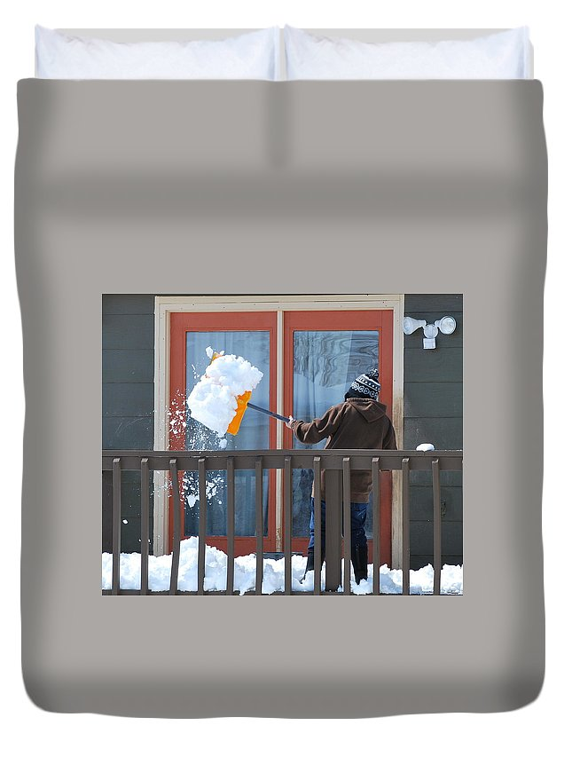 Mature Duvet Cover featuring the photograph Winter Snow. by Oscar Williams