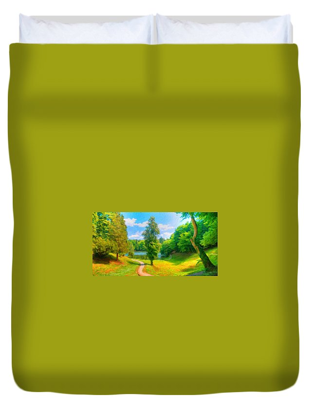 Landscape Duvet Cover featuring the painting Oil Painting Landscape Pictures Nature by World Map