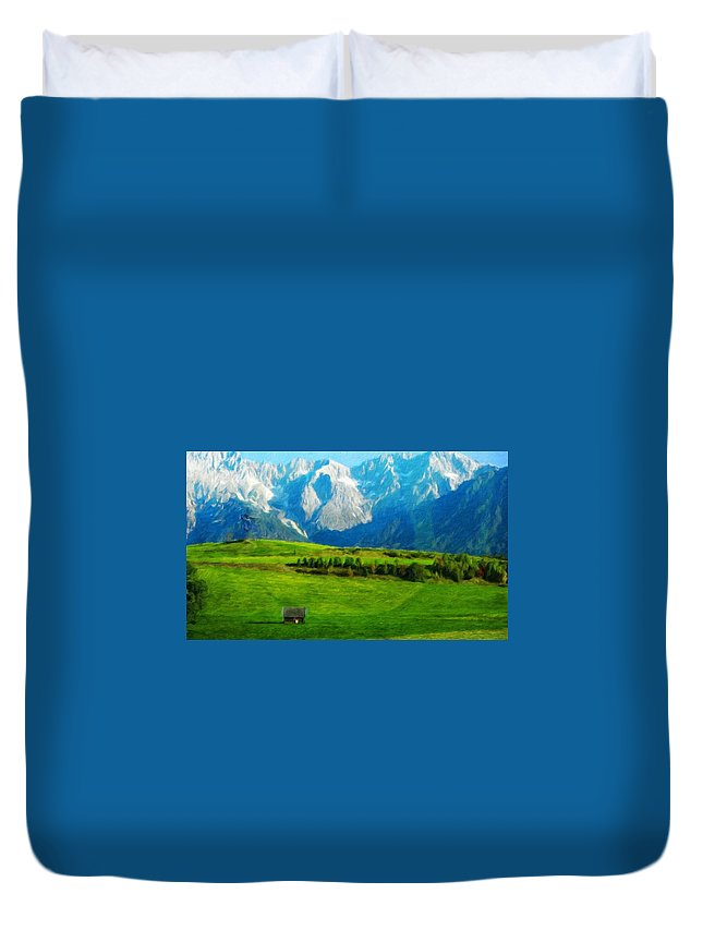 Landscape Duvet Cover featuring the painting Nature Landscape Nature by World Map