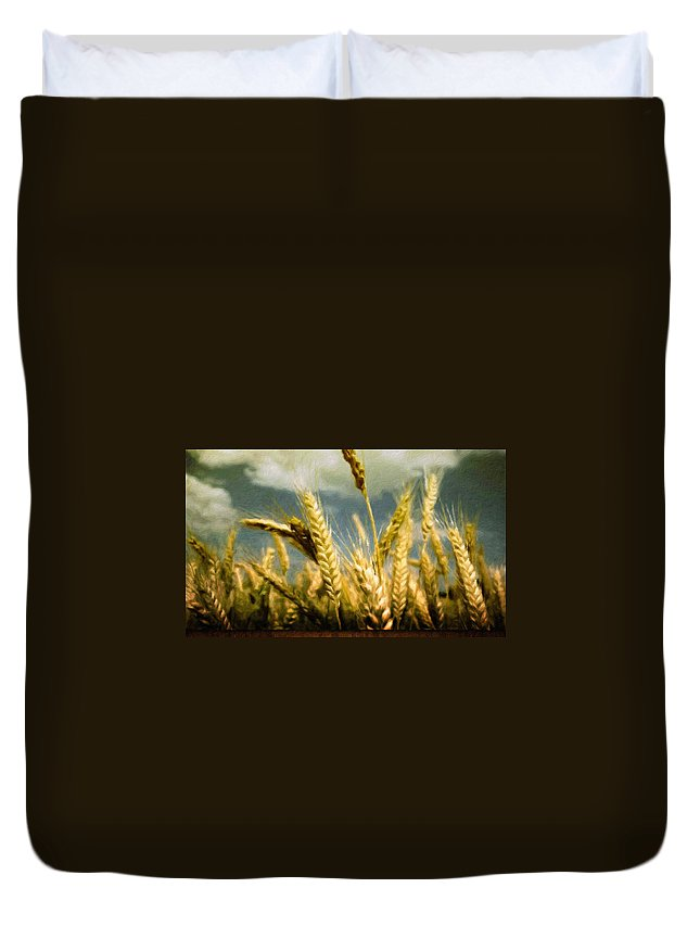 Landscape Duvet Cover featuring the painting Landscape Paintings Canvas Prints Nature Art by World Map