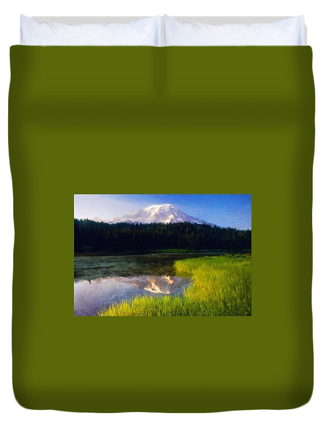 Landscape Duvet Cover featuring the painting Nature Landscape Oil Painting On Canvas by World Map