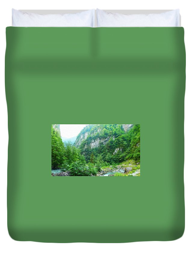 Landscape Duvet Cover featuring the painting Nature Oil Painting Landscape Images by World Map