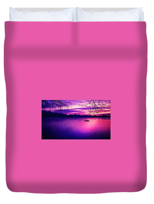 Landscape Duvet Cover featuring the painting Nature Painted Landscape by World Map