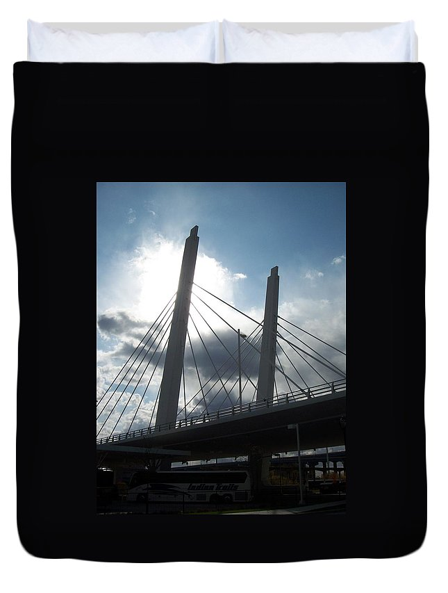 Bridge Duvet Cover featuring the photograph 6th Street Bridge Backlit by Anita Burgermeister