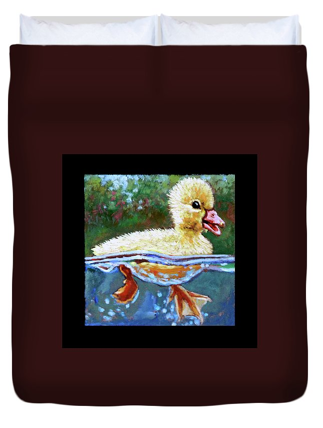 Baby Duck Duvet Cover featuring the painting Birdman Of Alcatraz Detail by John Lautermilch