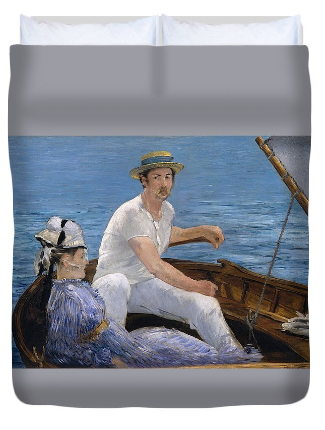 Boat Duvet Cover featuring the painting Boating by Edouard Manet