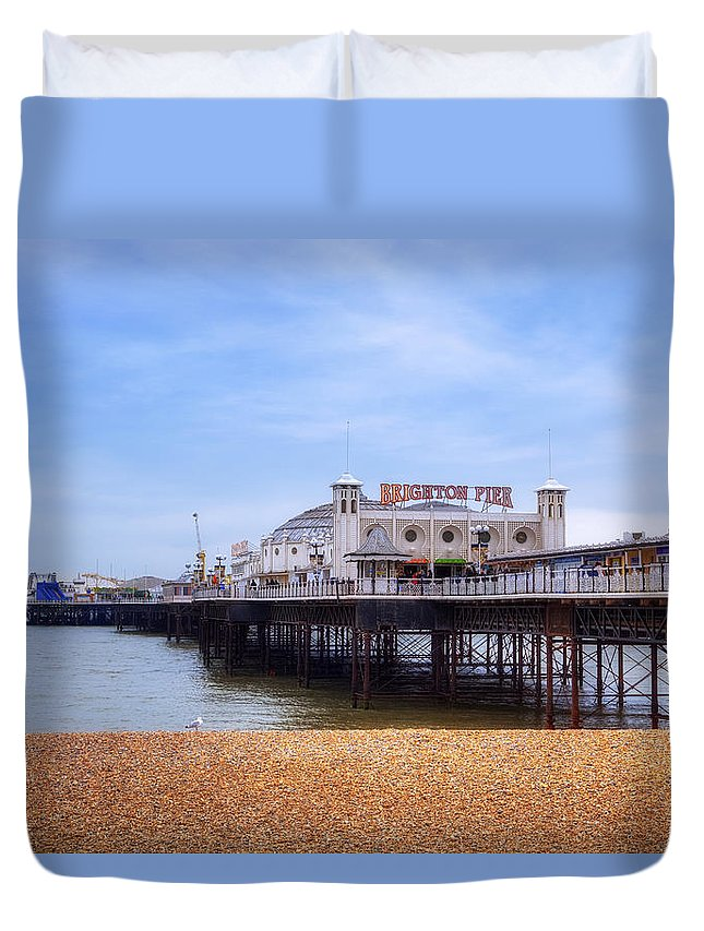 Brighton Pier Duvet Cover featuring the photograph Brighton Pier by Joana Kruse