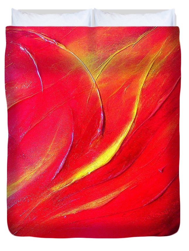 Energy.sunrise.light.brilliant.crystal Duvet Cover featuring the painting Energy by Kumiko Mayer