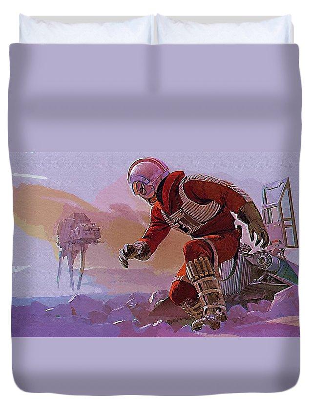 Fighter Star Wars Duvet Cover featuring the digital art Episode 1 Star Wars Art by Larry Jones