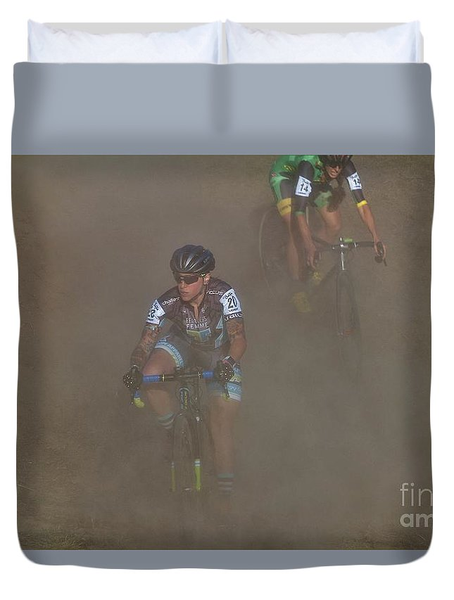 Longsjo Classic Duvet Cover featuring the photograph Fearless Femme Racing by Donn Ingemie