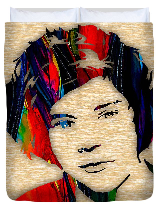 Harry Styles Duvet Cover featuring the mixed media Harry Styles Collection by Marvin Blaine