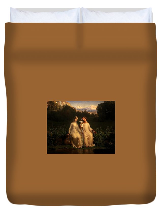 Louis Janmot - Poem Of The Soul 11 - Virginitas Duvet Cover featuring the painting Poem Of The Soul by MotionAge Designs