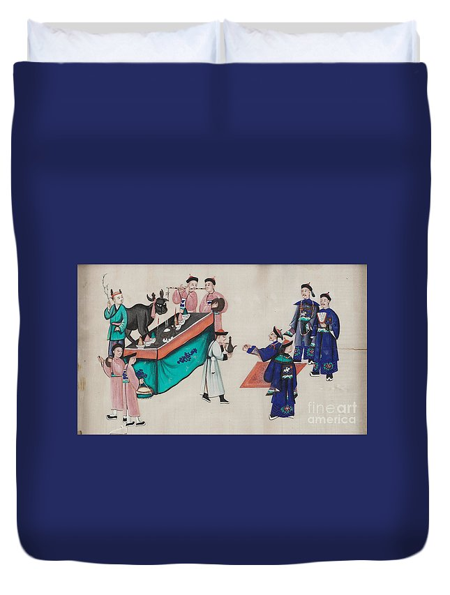 Portraying The Chinese Tea Traders Duvet Cover featuring the painting Portraying The Chinese Tea Traders by Celestial Images