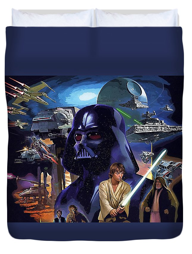 R2d2 Star Wars Duvet Cover featuring the digital art Star Wars Galactic Heroes Poster by Larry Jones