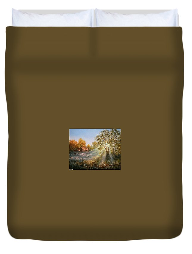Sunset Duvet Cover featuring the digital art Sunset by Dorothy Binder