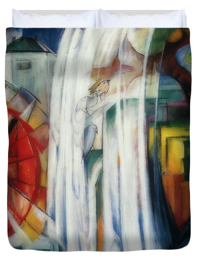 Painting Duvet Cover featuring the painting The Bewitched Mill by Franz Marc