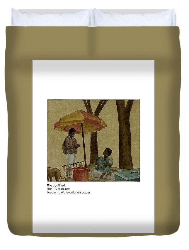 Figurative Duvet Cover featuring the painting Untitled by Gulab Kapadiya