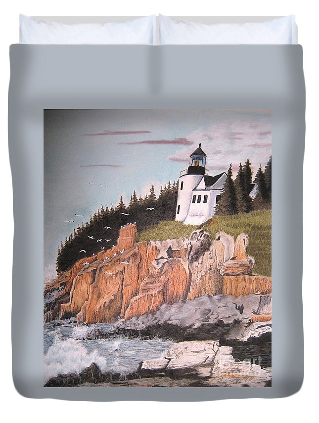 Light House Duvet Cover featuring the pastel Untitled by John Huntsman