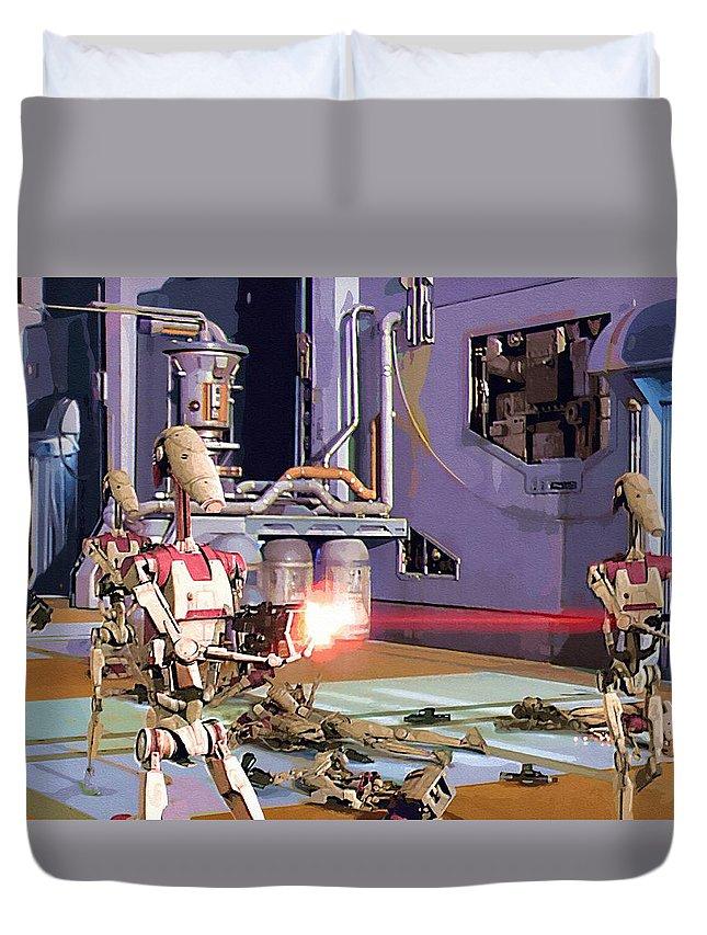 Star Wars Darth Vader Duvet Cover featuring the digital art Vintage Star Wars Art by Larry Jones