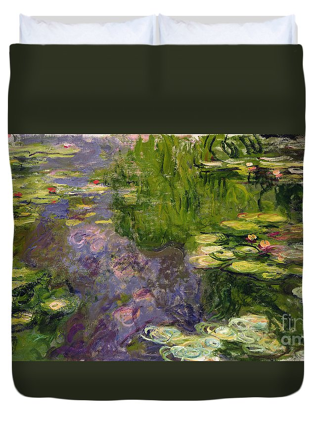 Nympheas; Water; Lily; Waterlily; Impressionist; Green; Purple Duvet Cover featuring the painting Waterlilies by Claude Monet