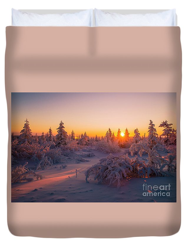 Sky Duvet Cover featuring the photograph Winter Evening Landscape With Forest, Sunset And Cloudy Sky. by Oxana Gracheva